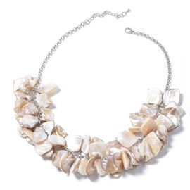 Designer Inspired-Natural Color Shell Necklace (Size 20) in Silver Plated.