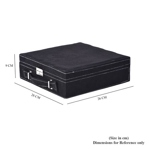 2 Tier Jewellery Box with Handle, 8 Necklace Hooks, Removable Tray, 9 Sections and Multi Storages with Lock and Key Anti Tarnish Lining (Size 26x26x9 Cm) - Black and Cream Colour