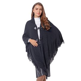 Black Colour Kimono with 2 Button and Tassels (Size 100 Cm)