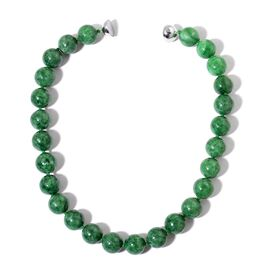 Burmese Green Jade Necklace with Magnetic Lock (Size 20) in Rhodium Plated Sterling Silver 908.400 C