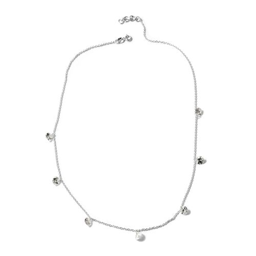 One Time Deal-J Francis - Sterling Silver (Rnd) Station Necklace (Size 18 with Half inch Extender) Made with SWAROVSKI ZIRCONIA