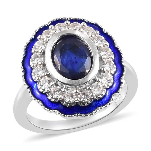 4.56 Ct Masoala Sapphire and Zircon Enamelled Ring in Platinum Plated Sterling Silver