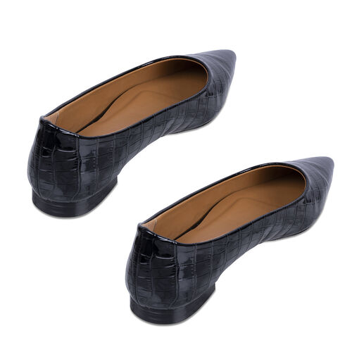 Inyati Violet Black Croco Shoes (Size 4)