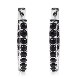 J Francis - Crystal from Swarovski Black Crystal Earrings in Rhodium Overlay Sterling Silver.Silver