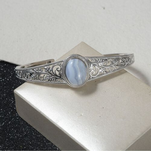 Blue Lace Agate Cuff Bangle (Size 7.5) in Silver Tone 4.25 Ct.