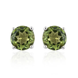 Hebei Peridot (Rnd) Stud Earrings (with Push Back) in Platinum Overlay Sterling Silver  3.000 Ct.