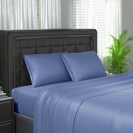 Serenity Night 4 Piece Set - 100% Bamboo Sheet Set Inclds. 1 Flat Sheet (230x265cm), 1 Fitted Sheet (140x190+30cm) & 2 Pillowcases (50x75cm) in Blue