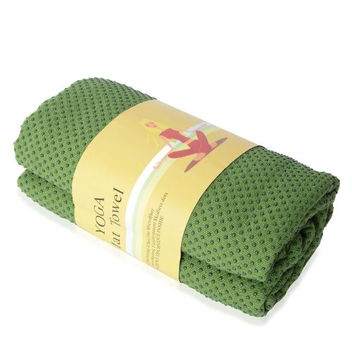 Green Yoga mat Towel with Anti Slip Mechanism