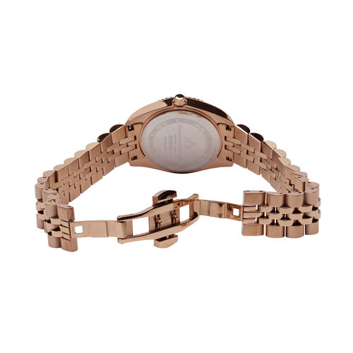 CHRISTOPHE DUCHAMP: Elysees Swiss Movement Watch With Diamonds  in Rose Gold Tone Stainless Steel
