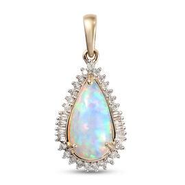 9K Yellow Gold AA Ethiopian Welo Opal and Diamond Pendant 2.52 Ct.