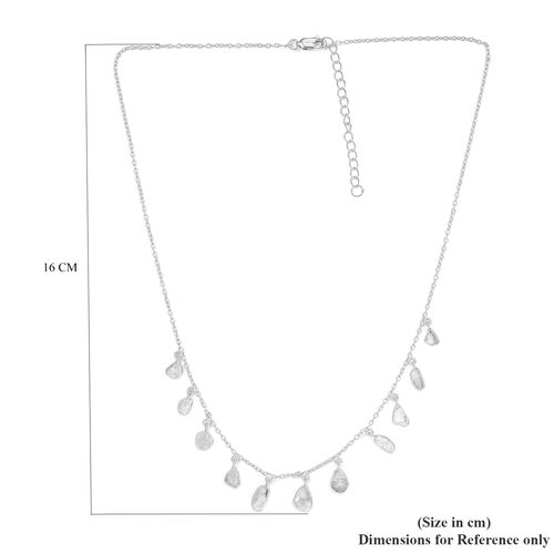 Artisan Crafted Polki Diamond Necklace (Size 18 with 2 inch Extender) in Platinum Overlay Sterling Silver 2.00 Ct.