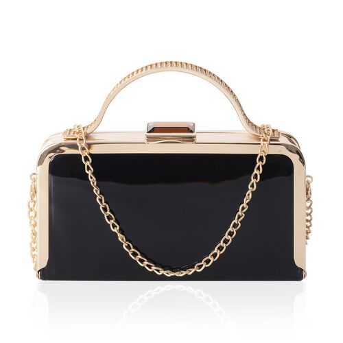 Boutique Collection Vintage Style Black Bag with Golden Chain (Size 20x11x4 Cm)