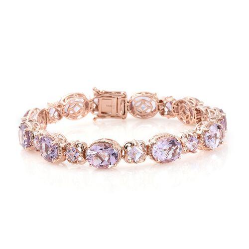 Rose De France Amethyst (Ovl and Sqr) Bracelet (Size 7.5) in Rose Gold Overlay Sterling Silver 26.25