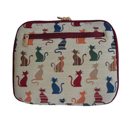 Signare - NEW Double Layer Tablet Organiser in Tapestry Cheeky Cat Design without Strap (24x3x20 cms