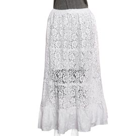 One Time Deal- Lace Maxi Skirt (Size 97 X 76 Cm) - White