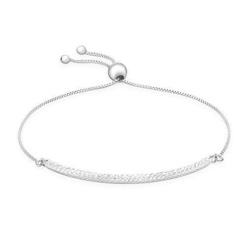 JCK Vegas Collection Diamond Cut Box Chain Adjustable Bracelet in 9K White Gold 2 grams Size 6.5 to