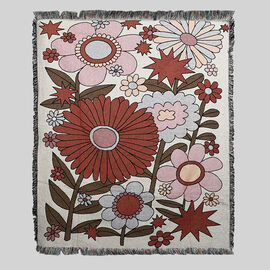Jacquard Woven Big Flower Printed Throw with Fringes (Size 150x126Cm) - Red, Pink and Multi