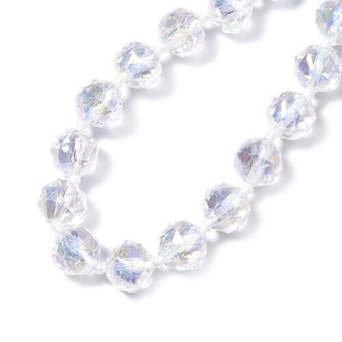 Simulated White AB Crystal Beads Necklace (Size 28) in Stainless Steel