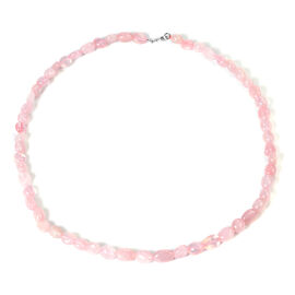 Rose Quartz Necklace (Size - 20) in Rhodium Overlay Sterling Silver
