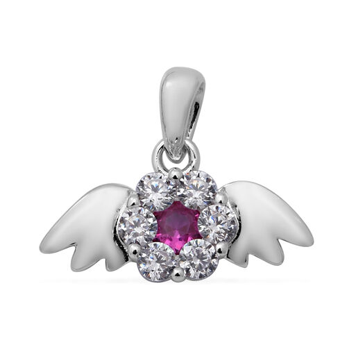 ELANZA Simulated Ruby and Simulated Diamond Angel Wing Theme Pendant in Rhodium Overlay Sterling Sil