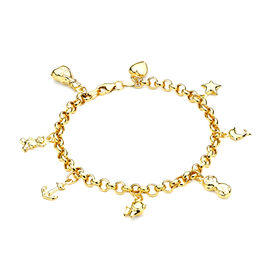 Multi Charm Belcher Bracelet in 9K Yellow Gold 7 Inch