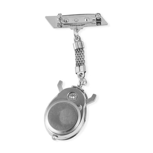STRADA Japanese Movement Water Resistant Ladybird Pocket Watch in Silver Tone