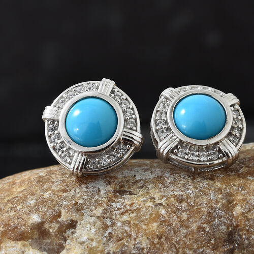 Arizona Sleeping Beauty Turquoise (Rnd), Natural White Cambodian Zircon Earrings (with Push Back) in Platinum Overlay Sterling Silver 2.500 Ct