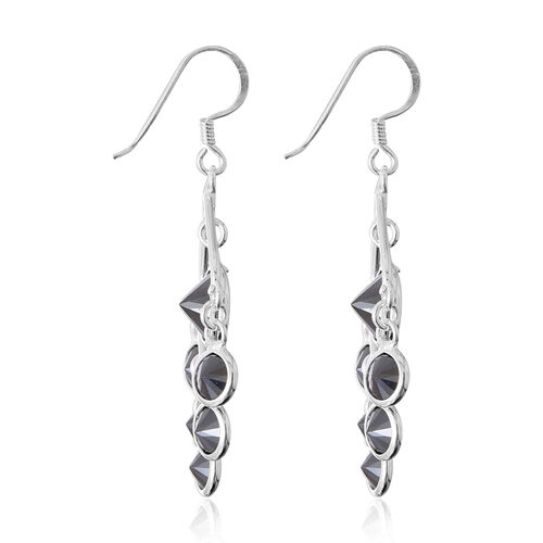 ELANZA Simulated Black Spinel (Rnd) Hook Earrings in Sterling Silver, Silver wt 4.60 Gms.