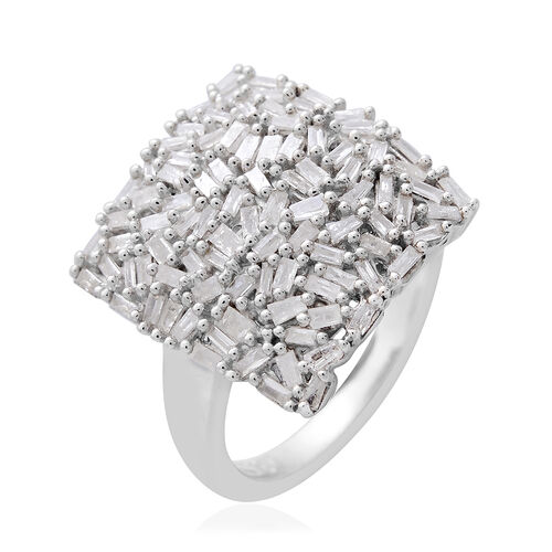 Fire Cracker Diamond (Bgt) Cluster Ring in Platinum Overlay Sterling Silver 1.000 Ct.