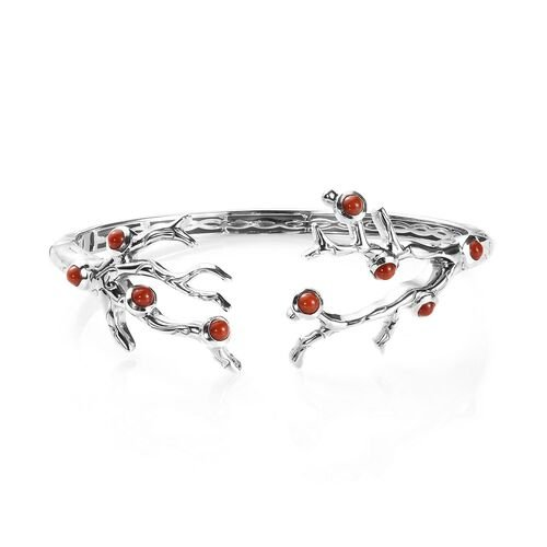 Sundays Child - Coral Bangle (Size 7.25) in Platinum Overlay Sterling Silver, Silver wt 31.00 Gms