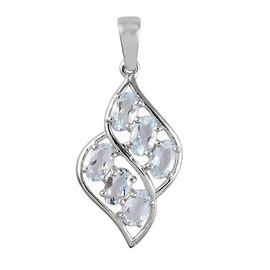 Aquamarine Pendant in Platinum Overlay Sterling Silver 1.20 Ct.