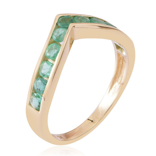 9K Y Gold AAA Kagem Zambian Emerald (Rnd) Wishbone Ring 1.000 Ct.