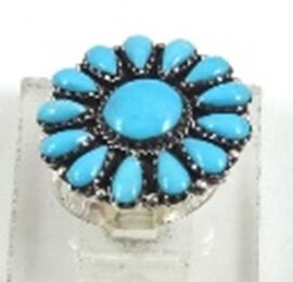 Santa Fe Collection - Turquoise Floral Ring in Sterling Silver 4.000 Ct.