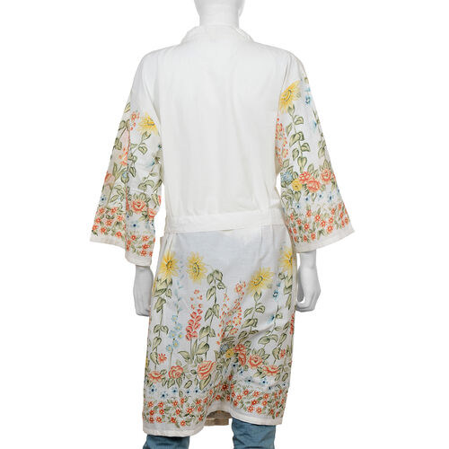 100% Cotton Floral Printed Sleeves and Bottom Robe with Belt (Size 103x62 Cm) - White