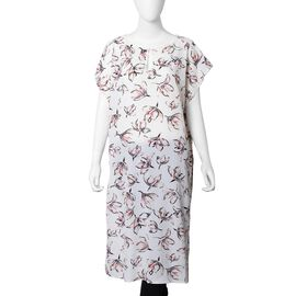 White and Multi Colour Lily Flower Pattern Apparel Size 105x69x24 Cm