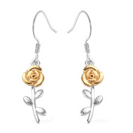 Platinum and Yellow Gold Overlay Sterling Silver Rose Hook Earrings