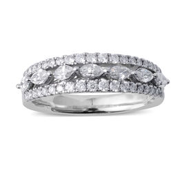 0.75 Ct Diamond 3 Row Eternity Band Ring in 14K White Gold 3.8 Grams
