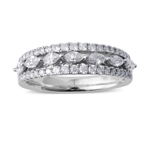 14K White Gold Diamond (Rnd) Three Row Eternity Band Ring 0.750 Ct.