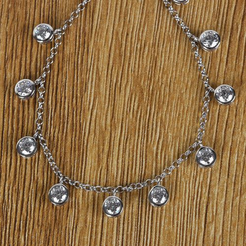 J Francis Platinum Overlay Sterling Silver Necklace (Size 18) Made with SWAROVSKI ZIRCONIA 11.85 Ct, SIlver wt. 7.98 Gms