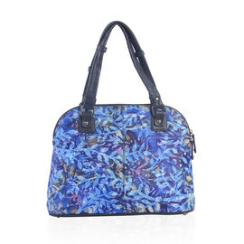 SUKRITI - 100% Genuine Leather Navy Blue Colour Hand Painted Leaves Pattern Satchel Bag (Size 35.5x2