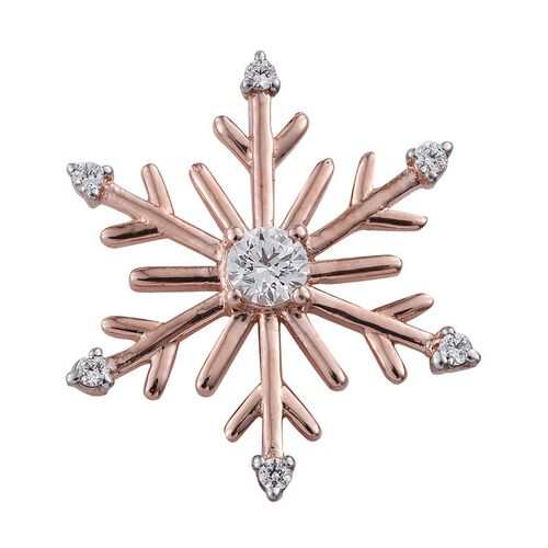 J Francis - Rose Gold Overlay Sterling Silver (Rnd) Snowflake Pendant Made with SWAROVSKI ZIRCONIA