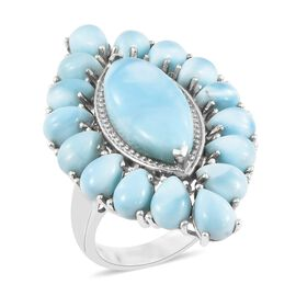 20.50 Ct Larimar Cluster Ring in Platinum Plated Silver 9.54 Grams