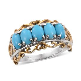 Arizona Sleeping Beauty Turquoise (Ovl) 5 Stone Ring in Platinum and Yellow Gold Overlay Sterling Silver 2.000 Ct.