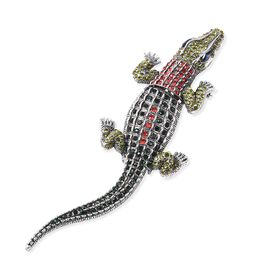 Simulated Sapphire and Multicolour Austrian Crystal Crocodile Brooch in Silver Tone