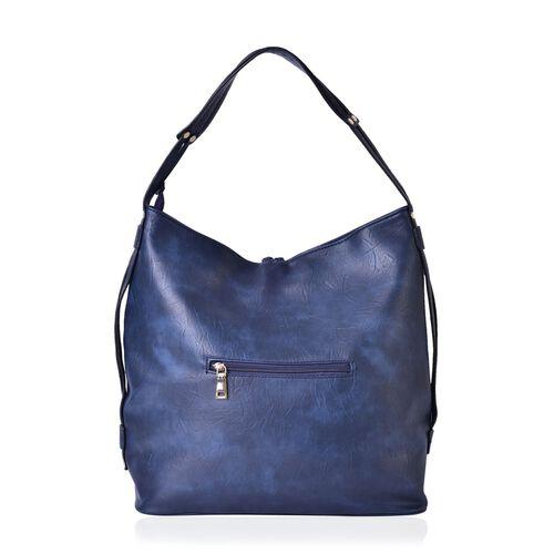 Navy Colour Shoulder Bag with External Zipper Pocket and Tassels (Size 35x34x15.5 Cm)