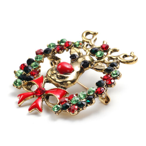 Set of 2 - Multi Colour Austrian Crystal Simulated Mystic White Crystal Enamelled Brooch in Antique Gold Plating