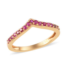 African Ruby Wishbone Ring in 14K Gold Overlay Sterling Silver 0.50 Ct.