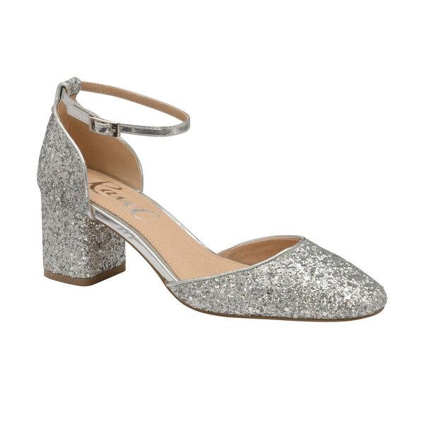 Ravel Silver Glitter Pembroke Low Heeled Closed-Toe Pumps (Size 8)