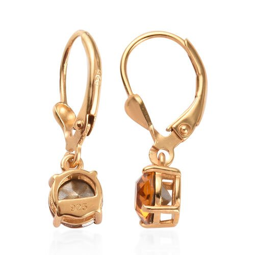 J Francis - Crystal from Swarovski Topaz Crystal (Rnd) Lever Back Earrings in 14K Yellow Gold Overlay Sterling Silver