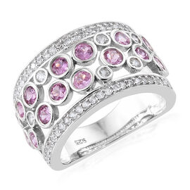 2.35 Ct Pink Sapphire and Zircon Cluster Ring in Platinum Plated Sterling Silver 5.74 Grams
